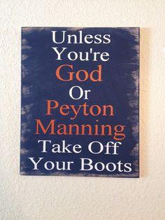 Peyton Manning wooden vinyl sign