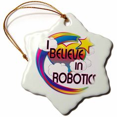 3dRose orn_166829_1 I Believe in Robotics Cute Believer Design Snowflake Ornament, Porcelain, 3-Inch >>> Hurry! Check out this great item : Christmas Decorations