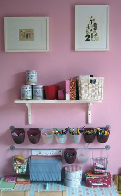 Gotta have these hanging bars from ikea- so much stuff can be stored away & at the same time right at their fingertips!