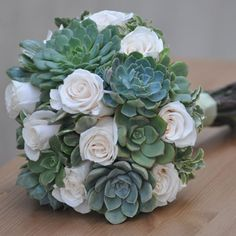 Succulent Table Decorations for Wedding | Succulents and Rose Bridal Bouquet Courtesy of FlowerDuet.com