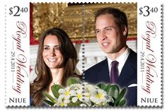 Royal wedding stamp with a perforation down the middle!?! New Zealand faux pas! Kate's side costs less than William's side...what's with that? Funny!