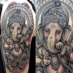 Reposting one of my favorite tattoos that I've done this year! Thanks for looking!  #tattoos #inked #Ganesh #lordganesh #memoespino_art #insightstudios1062