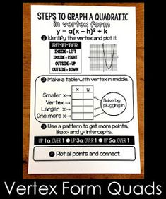 Are your Algebra 2 students struggling to graph quadratics in vertex form? This free math cheat sheet walks students through the steps for graphing vertex form quadratics. Math Cheat Sheet, Cheat Sheets, Math Word Walls, Math Poster, Math Words, Algebra 2, 8th Grade Math, Math Help, Math Classroom