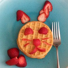 Pin for Later: An Animal Snack Attack: 17 Works of Animal Food Art A Hoppy Breakfast To amp up a frozen waffle, cut up some strawberries and place them in the shape of a bunny. Source: Instagram user frmheadtotoe