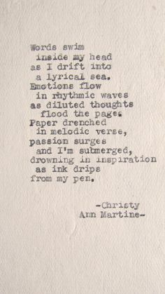 Poem writer's inspiration imagery verse quotes - Typewriter Poetry Creative Flow Poem Typed on Cotton Paper by Christy Ann Martine on Etsy, $10.00