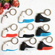 Mini Silicone Jordan 12 Keychain Bag Charm Woman Men Kids Key Ring Gifts  Sneaker Key Holder 3b2cf40cd6f3