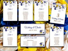Wedding Seating Chart Template | Rustic Mason Jar Navy Blue Mustard Yellow Brown Word Template | Table Number Card | Wedding Download by PaintTheDayDesigns, $25.00