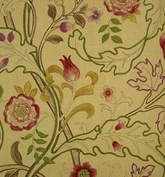 Mary Isobel Linen Curtain Fabric Printed linen depicting large flowering tree with intwined vines in red and gold on sand linen