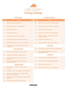 Free Printable guide to the 30-Day Cleaning Challenge. Click for more free printables: http://www.pinterest.com/hre