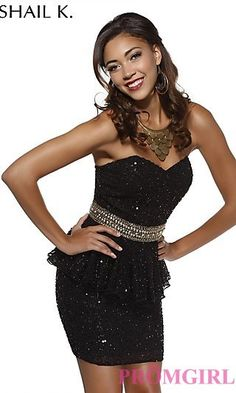 Strapless Sequin Peplum Dress by Shail K at PromGirl.com