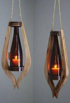 Wooden lamps design - Smart DIY Wine Bottle Lamp Design Ideas You Must Try Bathroom Wood Shelves, Wood Shelf, Wall Wood, Rustic Shelves, Creation Deco, Into The Woods, Diy Bottle, Glass Bottle, Wooden Lamp
