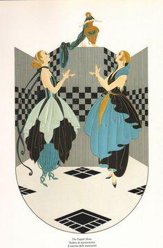 "CLASSIC ERTE' ART DECO BOOK PLATE PRINT ""PUPPET SHOW""  COSTUMES  #ArtDeco"