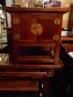 Solid Chinese Elmwood Wing Top End Table