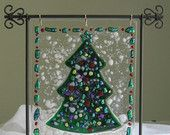 Fused Glass Christmas Tree Panel