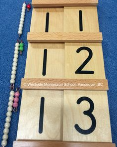 """Ten and one make eleven. Ten and two make twelve. Ten and three make thirteen."" That is the terminology we use when working on this Seguin Board or Teen Board. This is from Nienhuis Montessori. We use connected glass beads to build the quantities and correspondingly build the quantities. ""Children display a universal love of mathematics, which is par excellence the science of precision, order, and intelligence."""