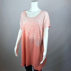 Avenue Trapeze Top Womens Ombre Shirt Cap Sleeves Floral Size 22/24 Keyhole Back #Avenue #KnitTop #Casual