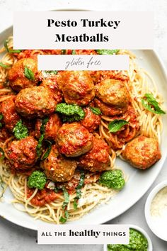 Pesto turkey meatballs made from ground turkey, spices, and a fresh basil spinach pesto that you will want to put on absolutely everything. Good Healthy Recipes, Lunch Recipes, Whole Food Recipes, Free Recipes, Dinner Recipes, Pesto Uses, Ground Turkey Meatballs, Baked Turkey, Pasta Salad Italian