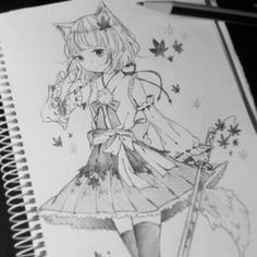 ✮ ANIME ART ✮ anime girl. . .cat girl. . .neko. . .cat ears. . .tail. . .sword. . .katana. . .dress. . .ribbons. . .stockings. . .leaves. . .drawing. . .sketch. . .pencil. . .graphite. . .sketchbook. . .kawaii
