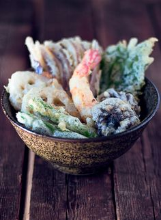 Japanese Tempura: Tempura Batter 1 cup of flour, 1 tablespoon cornstarch, 1 1/2 cups of seltzer water, Salt, 1 egg yolk. Directions: Combine all ingredients.