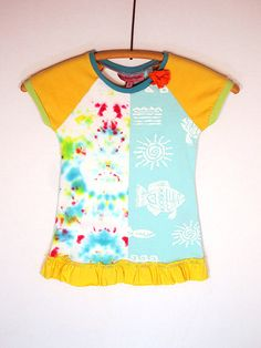 Upcycled  OOAK Girl Size 2 TShirt Dress Half Tie by TwoSweetMamas, $30.00
