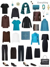 a travel capsule wardrobe in black, brown, blue and white