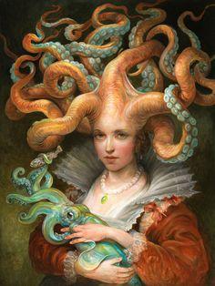 Omar Rayyan - Contessa with Squid, oil on panel, 18x24