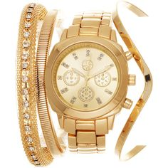 Xtreme Fortune NYC Arm Candy Ladie's Fashion Gold Watch with a Set of... (1,565 INR) ❤ liked on Polyvore featuring jewelry, watches, bracelete, gold, analog watches, gold bangle bracelet, leather-strap watches, yellow gold bangle bracelet and water resistant watches
