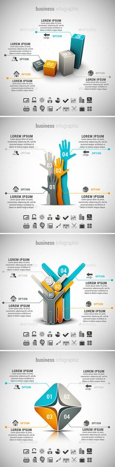 4 in 1 Business Infographics Bundle — Photoshop PSD #orange #choice • Available here → https://graphicriver.net/item/4-in-1-business-infographics-bundle/11815718?ref=pxcr
