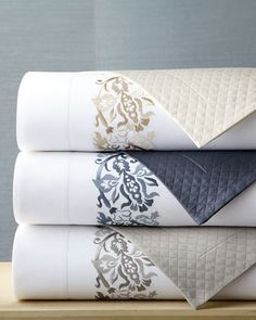 """SFERRA """"Plumes"""" Bed Linens  champagne or gold"""