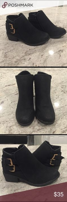 Black ankle booties Cute booties with gold buckles. Worn once Shoes Ankle Boots & Booties
