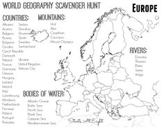 World Geography Scavenger Hunt Printable: Europe from Starts At Eight