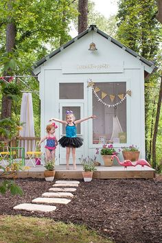 We've returned to Joni Lay's ongoing backyard makeover to see new upgrades-- mulch landscaping, plants and flowers, and a peek inside her girls' magical playhouse. || @laybabylay
