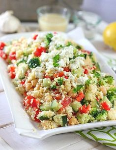 Crunchy Mediterranean Couscous Salad and 3-Minute Lemon Dijon Vinaigrette - I would skip the broc and use some of the other suggested add-ins - kalamata olives, pepperoncini, red onion (Laughing Spatula)