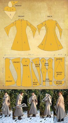 LARP winter coat pattern - could be made out of a lighter fabric and be a pretty elvish looking tunic. Costume Patterns, Coat Patterns, Clothing Patterns, Sewing Patterns, Coat Pattern Sewing, Hood Pattern, Knitting Patterns, Vest Pattern, Skirt Patterns