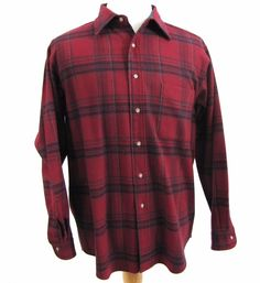 Pendleton Shirt Large 100% Pure Virgin Wool Red Plaid Lumberjack Hunting Tartan…