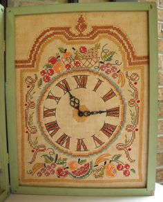 Vintage Shabby Chic Decor Needlepoint  Kitchen Clock by VintageEye. Mom made this exact pattern when  I was a kid. :)