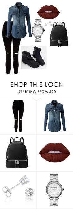 """""""Denim Me"""" by jasmin-renee on Polyvore featuring New Look, LE3NO, MICHAEL Michael Kors, Lime Crime, Amanda Rose Collection and Marc Jacobs"""