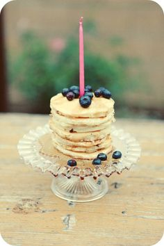 Love this idea! Pancake Cake (Breakfast Party from Potter) --could do a keto version for Abby b-day...
