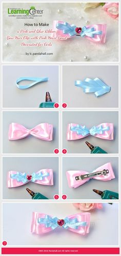 How to Make a Pink and Blue Ribbon Bow Hair Clip with Pink Heart Bead Decorated for Girls from LC.Pandahall.com   Jewelry Making Tutorials & Tips 2   Pinterest by Jersica