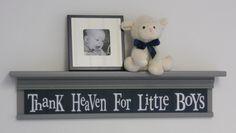 "Gray Nursery Shelving - Thank Heaven For Little Boys - Sign on 30"" Grey Shelf Navy Blue Nursery Wall Decor"