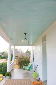 Haint blue front porch ceiling