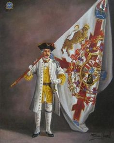 Standard Bearer of the Regimient Asturias, 1727 - Ferre Clauzel Spanish War, Spanish Heritage, Spain History, Army History, Mexican Army, Early Modern Period, Seven Years' War, American War, Empire