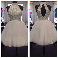 White High Neck Beads Prom Dresses Short Evening Dresses, Short Prom Dresses, Short Homecoming Dress,Junior Prom Dresses,Graduation Dresses, Party Dresses
