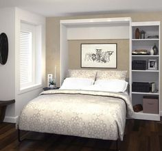 """26888-17 Pur 90"""" Queen Wall Bed Kit Including Two Doors with Simple Pulls and Adjustable Shelves in White"""