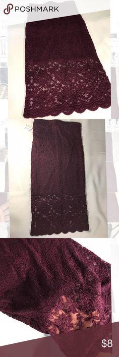 Burgundy knee length skirt Beautiful burgundy knee length skirt, size small.  Never worn.  Tags still attached. Forever 21 Skirts Midi