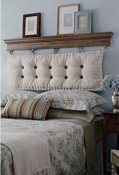 By hanging a chaise cushion from a shelf. A DIY headboard! Buttons and bows can be added for more personality and a pop of color too! headboard ideas cheap head boards 40 Cheap and Chic DIY Headboard Ideas Cheap Diy Headboard, Make Your Own Headboard, Diy Headboards, Creative Headboards Diy, Creative Beds, Ads Creative, Creative Decor, Headboard Designs, Headboard Ideas