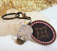 100% Authentic Upcycled Vintage Louis Vuitton & Swarovski Crystal Skull Keychain/Bag Charm Crystal AB and Vintage Brass