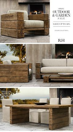 Spring Outdoor & Garden Sale - Save Up to Wood Patio Furniture, Diy Outdoor Furniture, Furniture Projects, Furniture Plans, Furniture Design, Outdoor Sofa, Restoration Hardware Outdoor Furniture, Wood Projects, Diy Home Decor