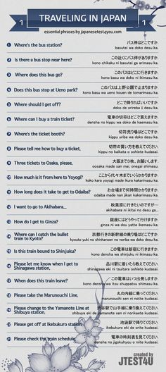 Infographic: essential Japanese phrases for traveling part 1. japanesetest4you....