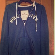 Hollister Blue Zip Up Fabulous condition, like new! No holes, fading, ect. Has two zippers, and polka dotted lined hood. Hollister Jackets & Coats